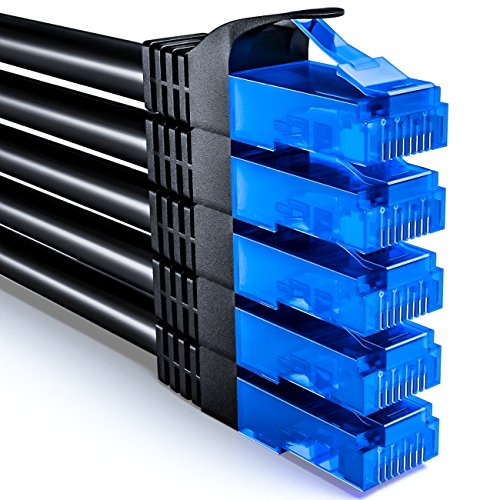 deleyCON 5x 0,5m CAT6 Cavo di Rete Set - U-UTP RJ45 CAT-6 LAN Cavo Patch Cavo Rame per Interruttore Router Modem Ripetitore - Nero