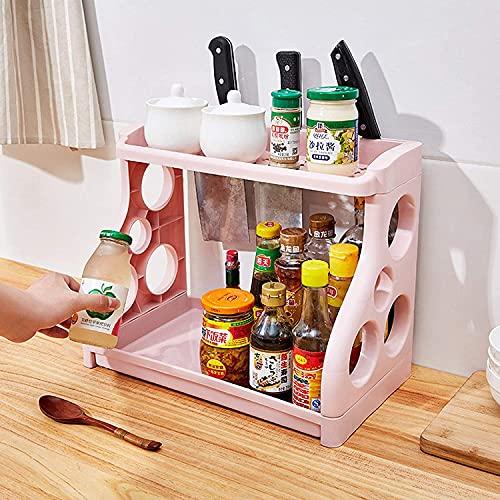 Almacenamiento estante cocina fruta vegetal estante estante de dos capas, estante de almacenamiento, bastidor de acabado de plástico de piso, estante de especias, estante de almacenamiento de alimento