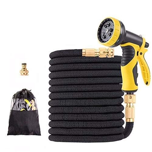 Extensible Tuinslang Magic Flexibele Jardin Besproeiingsslang High Pressure Car Wash Spuitpistool Tuinieren Rubber Slangen 75ft - Zwart (Color : Black, Size : 100FT 30m)