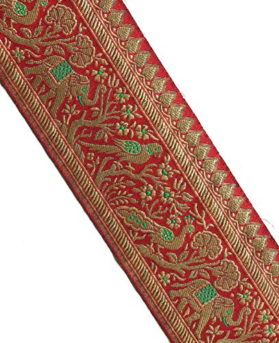 Indian Jacquard Lace with Gold & Red Elephant, Peacock and Parrot Pattern 3 Yards by Craftbot