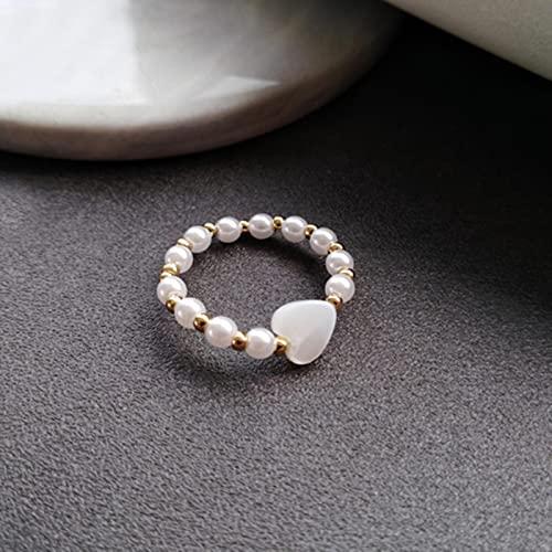 SONGK Gioielli di Moda Anello Elasticizzato Dolce Coreano Temperamento Perle simulate Perline placcate in Oro Anello Cuore Bianco per Le Donne