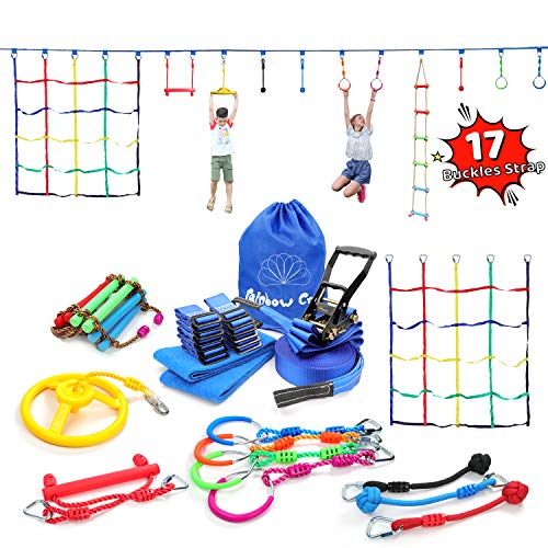 Ninja Line Obstacle Course - Heavy Duty Towing Strap Grade Ninjaline, Cargo Net, Swing Ninja Wheel, Monkey Bar, Ninja Fists Holds & Ninja Rings - Kids Backyard Training Equipment Outdoor Play