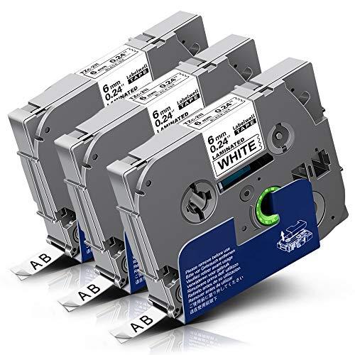 3x Labelwell 6mm TZc 211 Negro Blanco Compatible Etiquetas