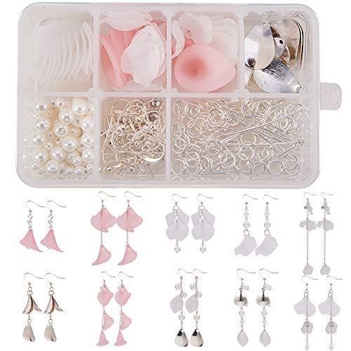 SUNNYCLUE 1 Box DIY 10 Pairs Frosted Acrylic Calla Lily Flower Dangle Earring Making Kits Include Pink White Acrylic Flower Beads Caps Pendants, Pearl Beads, Earring Hooks Jewelry Findings Supplies