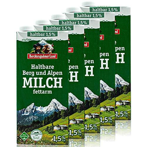 Berchtesgadener Land - 5er Pack H-Milch fettarm 1,5 % in 1 Liter Packung - Haltbare Milch von Höfen aus der Berg- und Alpenregion (Bergbauernmilch)