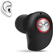 Mini Invisible Bluetooth Earbud,V4.1 Stereo Wireless Bluetooth Earphone with Built-in Mic,Sports Noise Cancelling in-Ear Headphone for iPhone Samsung and Other Android Phones (Black)