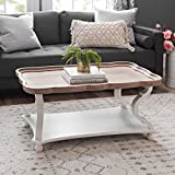 COZAYH Rustic Farmhouse Cottagecore Coffee Table, Natural Tray Top Sofa Table for Family, Dinning or...