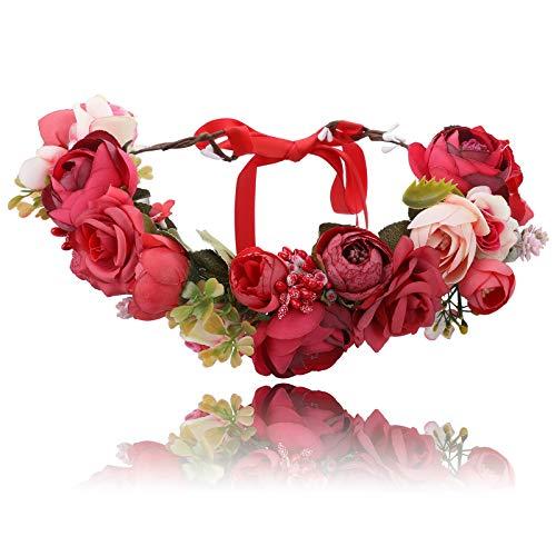 AWAYTR Corona di fasce per capelli da donna per ragazze - Ghirlanda di ghirlande di fiori fatti a mano con nastro per festa di matrimonio (Rosso + rosso scuro)