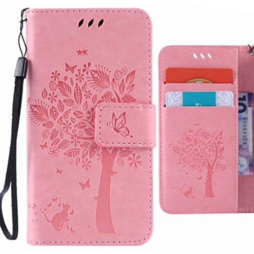 Ougger Handyhülle für LG V10 (H960A, H900, H901, VS990) Tasche, Baum Katze Druck Brieftasche Schale Schutzhülle Leder Weich Magnetisch Stehen Silikon Cover mit Kartenslot (Hell-Pink)
