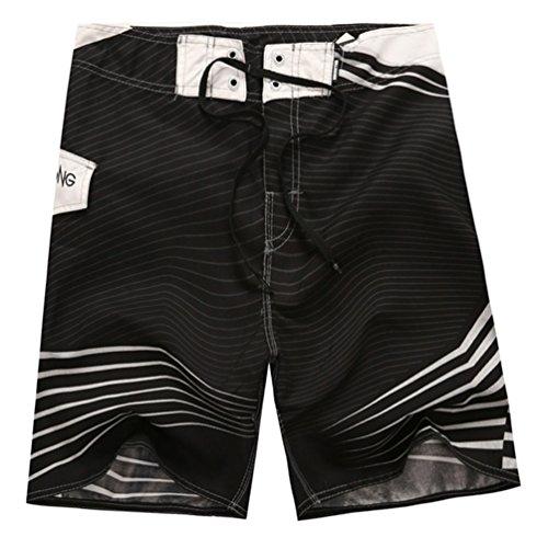 YOUJIA Maillot De Bain Stripe Imprimé Surf Board Shorts pour Hommes Noir M