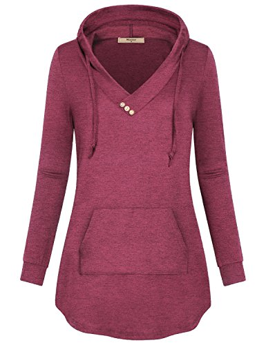 Miusey V Neck Hoodies for Women,Ladies Solid Henley Shirt Long Sleeves Hood Sweater with Pouch Kangaroos Pocket Elegant Flyaway Swing Curved Hem Tops Clothing Fuchsia M