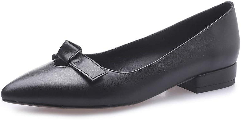 Nio Sju äkta läder, kvinnors spetsiga tå, tå, tå, platt, Chunky Heel Söt handgjord, handfast, glidande på kvinnor, klädpumpar med bow.  billigare priser
