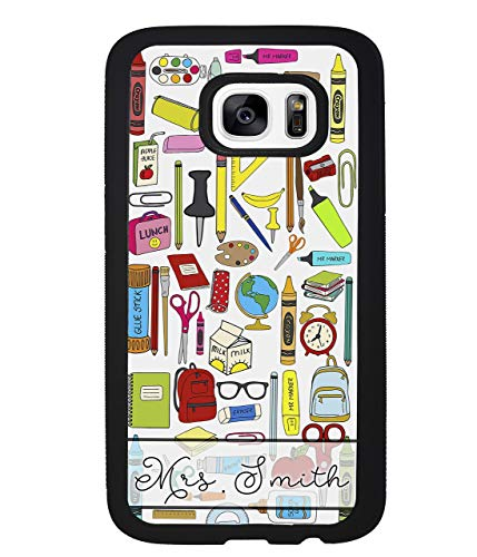 Teacher Appreciation School Supplies Collage Personalized Samsung Black Rubber Phone Case Samsung Galaxy S20, S20+, S20 Ultra, S10, S10 Plus, S10 E, S9 Plus, S8 Plus, S7 Edge, S6, Note 8 9 10 Plus
