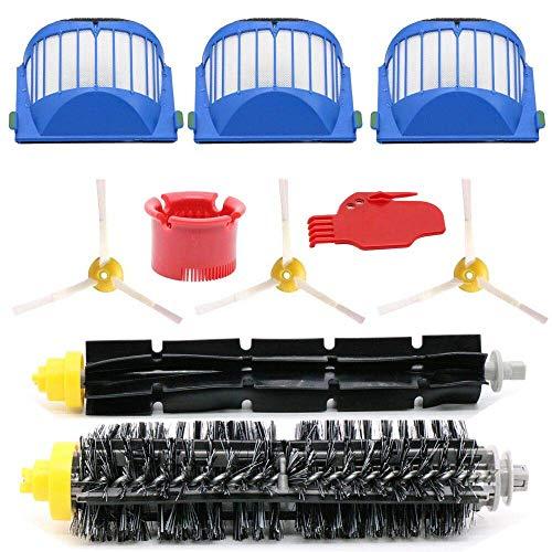 QKTYB Accesorios de repuesto para aspiradora Irobot Roomba 600 Series 615 620 630 650 660 665 690 10 piezas de repuesto (cepillos laterales, filtros, cepillo de cerdas, etc.)