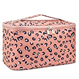 Travel Makeup Bag Large Cosmetic Bag Make up Case Organizer for Women and Girls (Large,Leopard)
