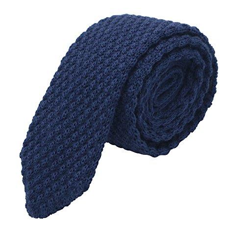 Massi Morino ® Strickkrawatte für Herren | handgenähte Anzug Krawatte (Tie Strick blau) blauekrawatte blaueherrenkrawatte krawatteblau strickkrawatteblau dark-blue dunkelblau blaufarben