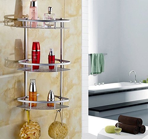GOTOTOP Bathroom Shelf,Triangular Durable Aluminum 3 Tiers Wall...