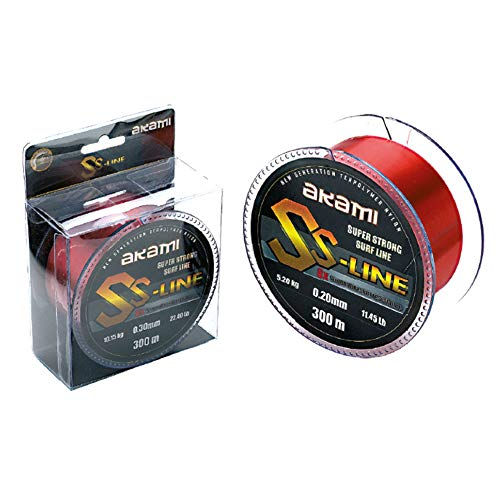 Akami SS Line Super Strong Surf Line Hilo 0.30 mm 300 MT Red 10.15 kg 22,40lbs