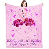 Breast Cancer Gifts for Women Throw Blankets-Breast Cancer Awareness Ultra-Soft Micro Fleece Blanket for Family Birthday Wedding Gift Fits Couch Sofa Bedroom Living Room Decor 50'X40'