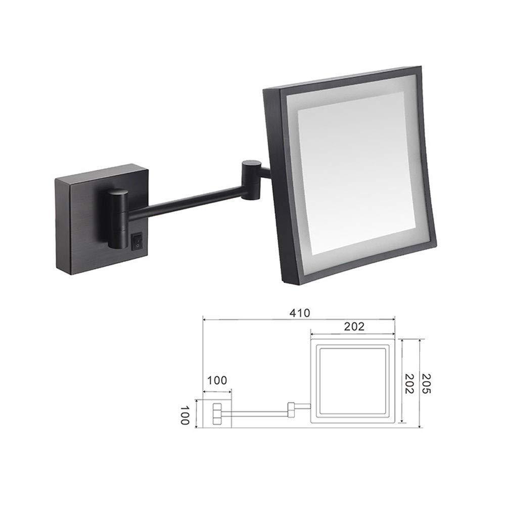 LNDDP Espejo Maquillaje, Espejo vanidad Lupa con iluminación LED Aumento 3X Carga USB Cuadrado Acabado Cromado retráctil con perforación o sin Espejo Afeitado Negro: Amazon.es: Deportes y aire libre