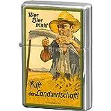 Nostalgic-Art 80232 Bier und Spirituosen Wer trinkt hilft der Landwirtschaft, Feuerzeug