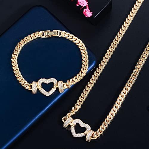 Wnkls Cadena De Enlace De Color Dorado Amor Corazón Encanto Collar Pulsera Brazalete Conjunto De Joyas para Mujeres Regalo (Metal Color : Gold White)