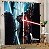 Darth Vader Lightsaber Grommet Thermal Insulated for Living Room Star Wars Blackout Curtains Drapes for Kid's Room for Boys and Girls Bedroom 52'x63'