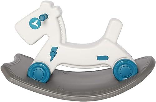 Cacyy 2 in 1 Rocker Mit Rad - Blauer Pferd, H ernes Schaukelpferd Für Kinder 1,2,3 Jahre Für Junge mädchen Kindergarten