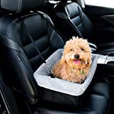 Dog Booster Car Seat with Clip On Safety Leash and Zipper Storage Pocket