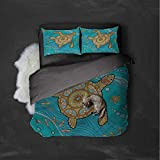 Luoiaax Turtle Hotel Luxury Bed Linen Artistic Doodle Water Polyester - Soft and Breathable (Full)