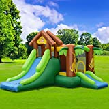 WATERJOY Kids Inflatable Castle,Jungle Kangaroo Slide Jumping Castle with 740W Blower,Bounce House Castle with Storage Bag for Outdoor Indoor Home Playground Garden Children Play with Blower