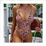 HANRUO Conjunto de bikini de encaje sólido para mujer, de una pieza, con push up, traje de baño profundo con cuello en V (color: 3, tamaño: L)