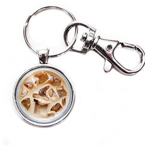 Iced Coffee - Silver Keychain with Glass Image, Large Lobster Claw