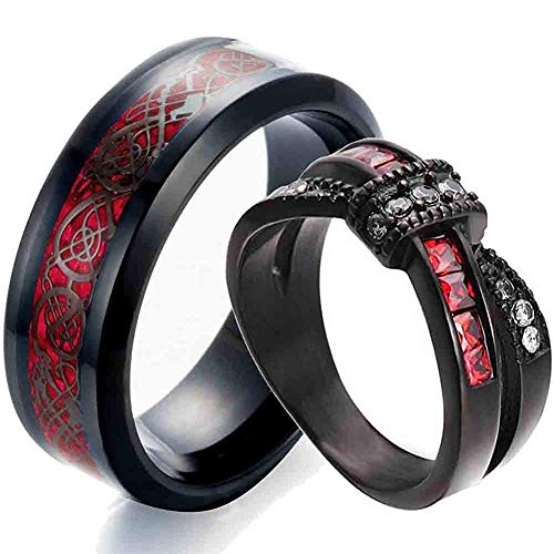 AONEW Couple Rings Criss Cross Infinity for Womens Wedding Ring Red Cz & Celtic Dragon for Mens Ring Titanium Steel Wedding Bands Men Size 12