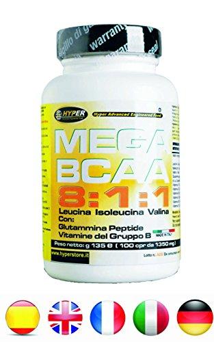 BCAA 8: 1: 1 Aminoácidos ramificados | mejorado con  Péptido de glutamina Grupo de Vitaminas B | 100 tabletas 135 gr | (8 leucina, 1 isoleucina, 1 valina) | Aumento de la masa muscular