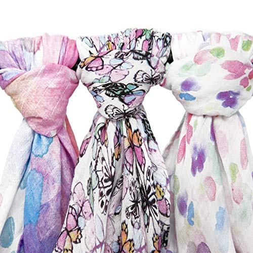 Kids N' Such Extra-Large Muslin Baby Swaddle Blanket, Flutter, 47 x 47, 3 Pack