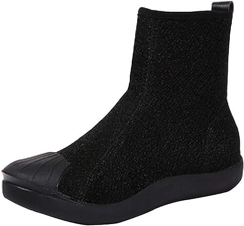 ZHRUI Bottes pour Femmes Martin Bottes Plates à Talons Plats Sauvages et Bottines décontractées Chaussures Chaudes (Couleuré   Noir 2, Taille   36EU)
