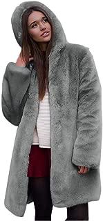 iHHAPY Ladies Winter Plush Jacket Imitation Fur Trench Coat Hooded Cardigan Soft Faux Fur Parka Solid Warm Cardigan