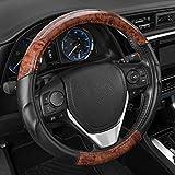 BDK ACDelco 2 Tone - Black/Dark Wood Grain Microfiber Leather Steering Wheel Cover for Standard Sizes 14.5 15 15.5
