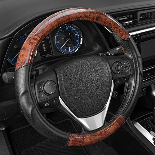 BDK ACDelco 2 Tone - Black/Dark Wood Grain Microfiber Leather Steering Wheel Cover for Standard Sizes 14.5 15 15.5
