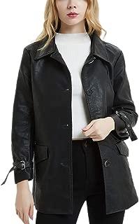 DISSA PPY055 Women Faux Leather Long Overcoat Slim Coat Leather Jacket