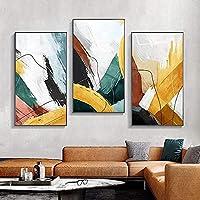 壁画3枚50x100cmフレームレス抽象カラフルスプラッシュ水墨画画像壁アート画像リビングルーム寝室モダンでユニークな家の装飾