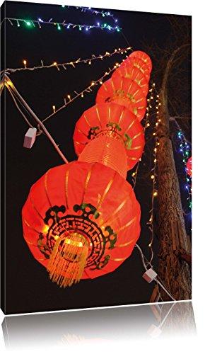 Pixxprint traditionelle chinesische Lampions/Format: 80x60cm / Leinwandbild fertig bespannt Wandbild Kunstdruck