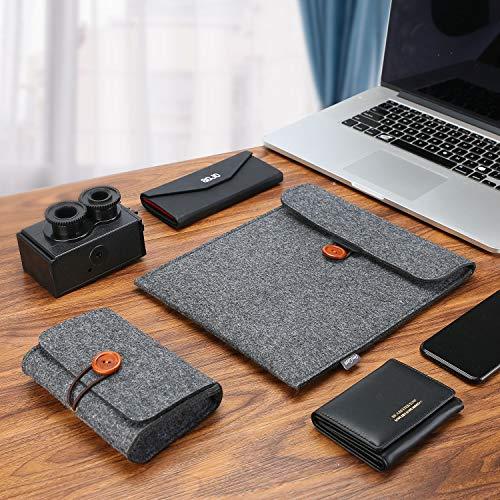 ProCase Ärmel Filz Tasche mit Zubehörorganizer bis 13 Zoll Tablet wie MacBook Pro/Air 13 2016/2017/2018/2019/2020 A1932/A2159/A2179 Sleeve Etui, Case Hülle für iPad Pro 12.9 2018/2020 –Schwarz
