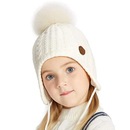 8c740716c85 SOMALER Toddler Kids Winter Ear Flap Beanie Hat Boy Girl Fur Pompom Knit  Hats