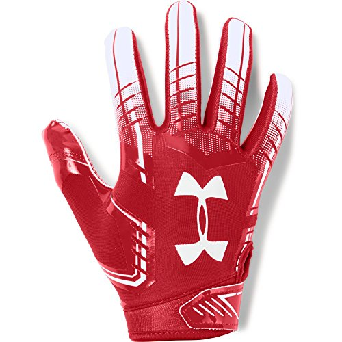 Under Armour boys F6 Youth Football Gloves Red (600)/White Youth Small