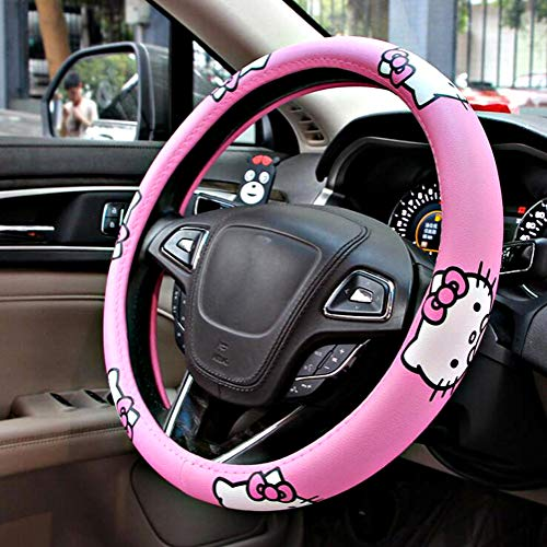 Carmen Hello Kitty Car Accessories 15 Inch Universal Steering Wheel Cover Microfiber Leather Durable Breathable Soft Snug Grip Protector