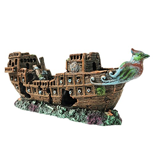 SLOCME Aquarium Pirate Ship Decorations Fish Tank Ornaments - Resin Material Shipwreck Decorations, Eco-Friendly for Freshwater Saltwater Aquarium Sunken Ship Accessories