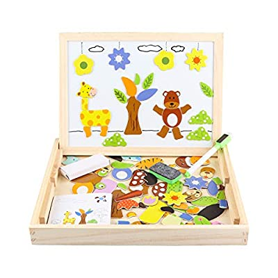 Gemileo Educational Toys Wooden Magnetic Drawing Board for Kids Animal Puzzles Games Art Easel with Erase Double Sides Preschool Learning Toys for 3 4 5 6 7 Years Old Toddler Boys Girls