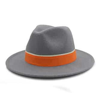 LiJuan Shen Men Women Winter Fedora Hat With Orange Cloth Belt Panama Hat Wide Brim Church Fascinator Hat Casual Hat Size 56-58CM